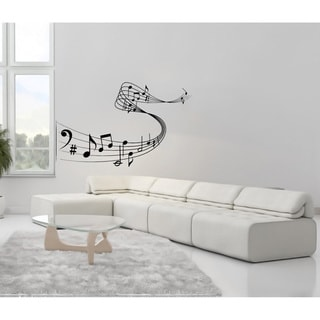 Notes Waves Drifting Musical Treble Clef Wall Vinyl Decal