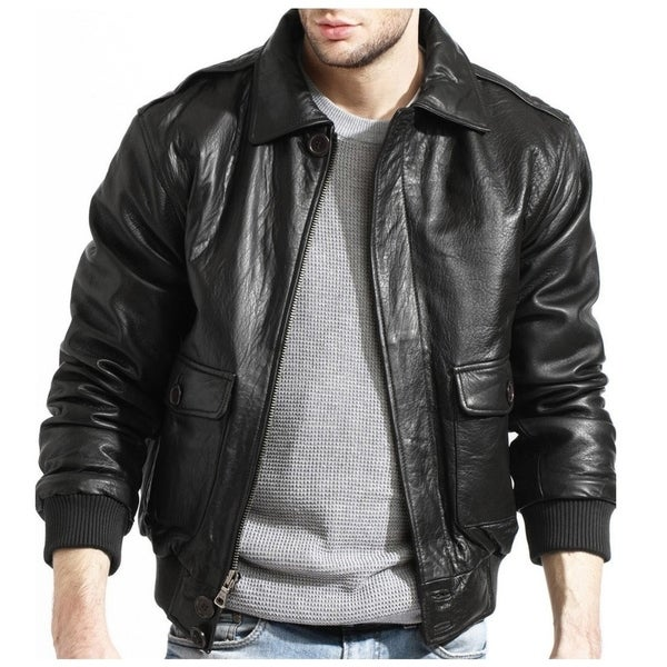 ebfeb63422b Shop Men s Black Lambskin Leather Bomber Jacket - Free Shipping ...