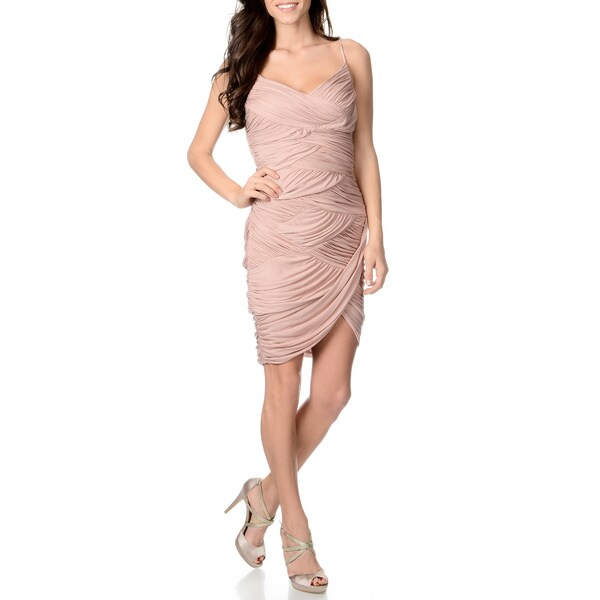 Halston Heritage Women's Dusty Pink Ruched Short Evening Dress
