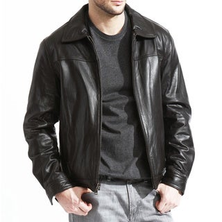 Men's Genuine Lambskin Leather Jacket (Option: 48r)