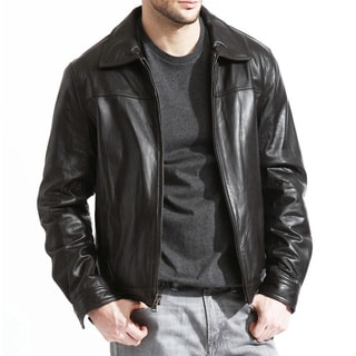 Men's Genuine Lambskin Leather Jacket (Option: 38r)