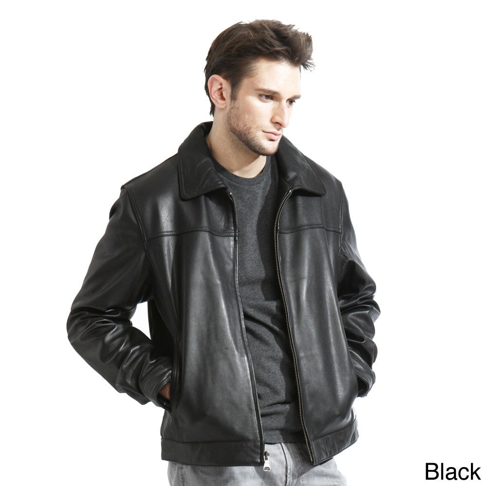 Men's Genuine Lambskin Leather Jacket - Free Shipping Today ...