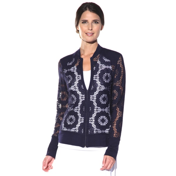 Shop Anatomie Womens Lydia Navy Lace Jacket Free Shipping Today