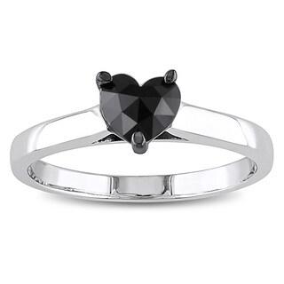 Miadora 10k White Gold 1/2ct TDW Black Diamond Heart Solitaire Ring