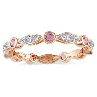 Miadora 10k Rose Gold Pink Sapphire and 1/4ct TDW Diamond Ring (H-I, I2-I3)