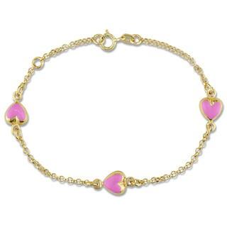 Miadora 18k Yellow Gold Baby Pink Enamel Heart Bracelet