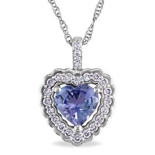 Miadora 10k White Gold Tanzanite and 1/6ct TDW Diamond Necklace (G-H, I1-I2)