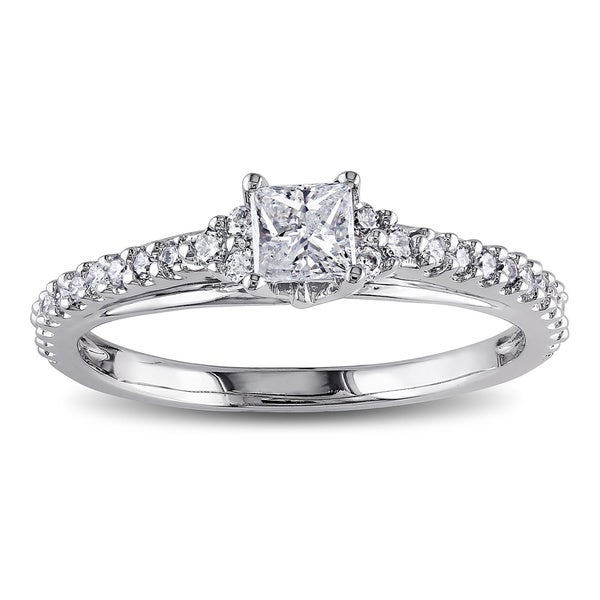 Miadora 14k White Gold 1/2ct TDW Princess Diamond Ring