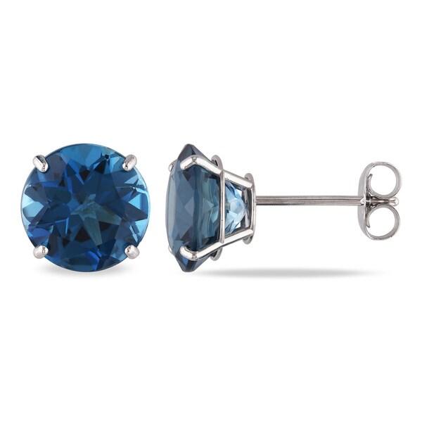 64981d263f18 Shop Miadora 14k White Gold 5ct TGW London Blue Topaz Stud Earrings ...