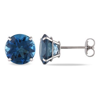 Miadora 14k White Gold 5ct TGW London Blue Topaz Stud Earrings