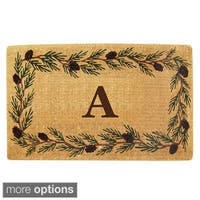 Handmade Monogrammed Evergreen Border Coir Door Mat (1'10 x 3') - 22 inches x 36 inches