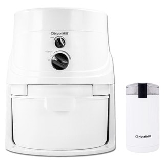 NutriMill White Classic Grain Mill with Mini Seed Mill and Coffee Grinder
