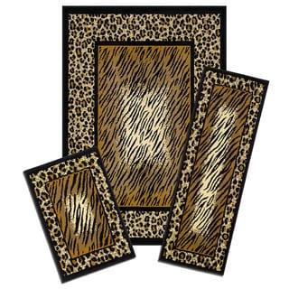 Capri 3-piece Leopard Skin Rug Set