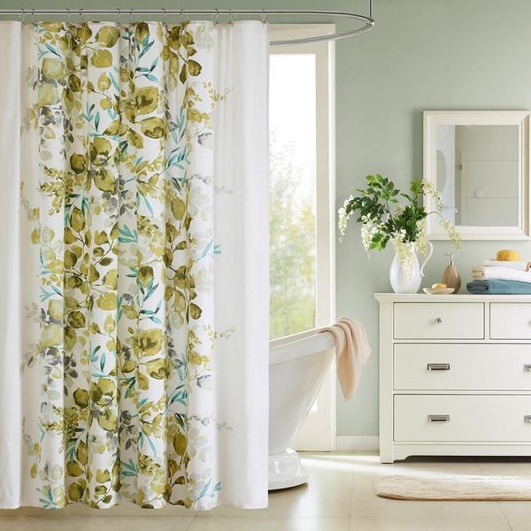 Briella Botanical Floral Cotton Shower Curtain