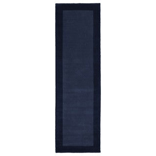 "Hand-tufted Borders Navy Wool Rug - 2'6"" x 8'9"""