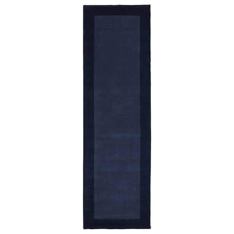 """Hand-tufted Borders Navy Wool Rug - 2'6"""" x 8'9"""""""