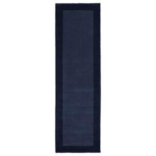 Hand-tufted Borders Navy Wool Rug (2'6 x 8'9)