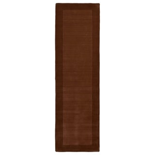 """Hand-tufted Borders Copper Wool Rug - 2'6"""" x 8'9"""""""