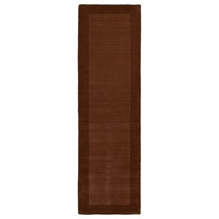 Hand-tufted Borders Copper Wool Rug (2'6 x 8'9)