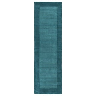 Hand-tufted Borders Turquoise Wool Rug (2'6 x 8'9)