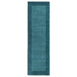 Hand-tufted Borders Turquoise Wool Rug - 2'6 x 8'9
