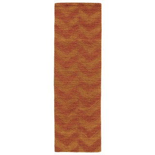 Trends Paprika Chevron Wool Rug (2'6 x 8')