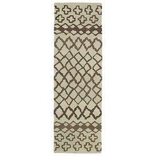 "Hand-tufted Utopia Prints Brown Wool Rug (2'6 x 8') - 2'6"" x 8'"
