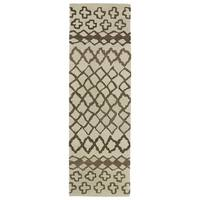 "Hand-tufted Utopia Prints Brown Wool Rug - 2'6"" x 8'"