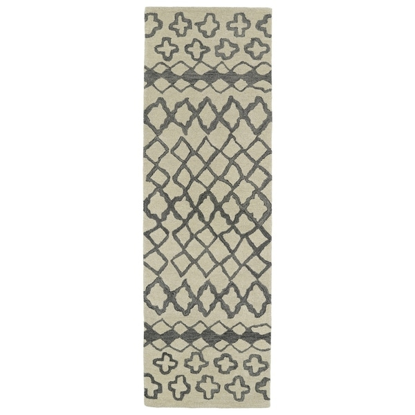 Hand-tufted Utopia Prints Grey Wool Rug - 3' x 10'