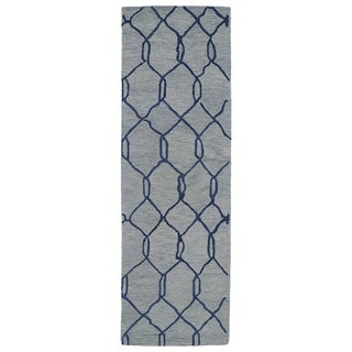 Hand-tufted Utopia Tile Blue Wool Rug (3' x 10')
