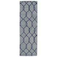Hand-tufted Utopia Tile Blue Wool Rug - 3' x 10'