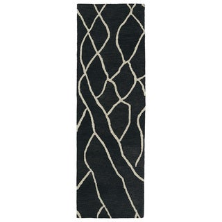 Hand-tufted Utopia Peaks Charcoal Wool Rug - 3' x 10'