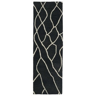 "Hand-tufted Utopia Peaks Charcoal Wool Rug - 2'6"" x 8'"