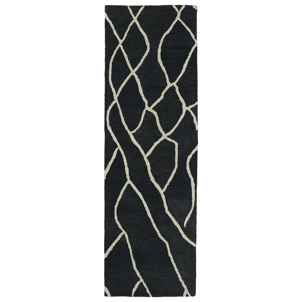 Hand-tufted Utopia Peaks Charcoal Wool Rug (2'6 x 8')
