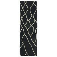 Hand-tufted Utopia Peaks Charcoal Wool Rug - 2'6 x 8'
