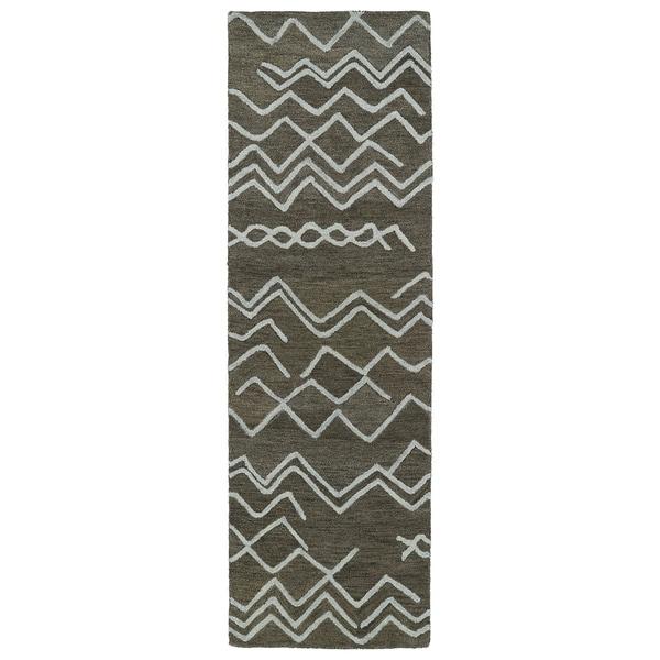 "Hand-tufted Utopia Cascade Charcoal Wool Rug (2'6 x 8') - 2'6"" x 8'"
