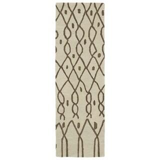 Hand-tufted Utopia Fringe Brown Wool Rug (3' x 10') - 3' x 10'