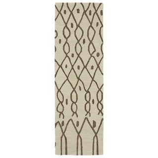 Hand-tufted Utopia Fringe Brown Wool Rug (3' x 10')