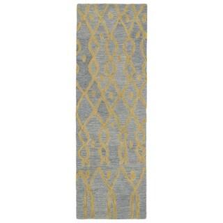 Hand-tufted Utopia Fringe Blue Wool Rug (3' x 10')
