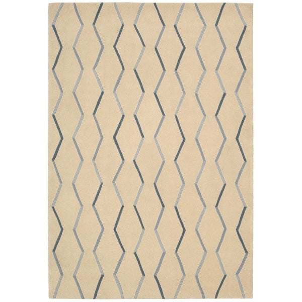 Hand-tufted Nourison Contours Ivory/ Blue Rug - 8' x 10'6