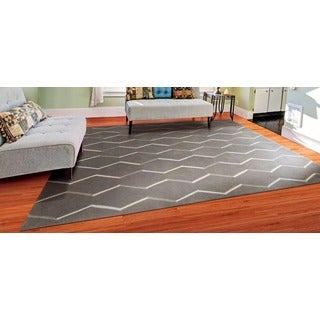 Hand-tufted Nourison 'Contours' Charcoal Rug (7'3 x 9'3)