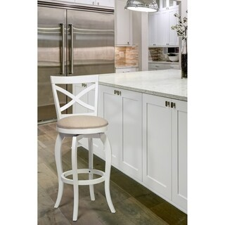 The Gray Barn Chatterly White and Natural Swivel Stool