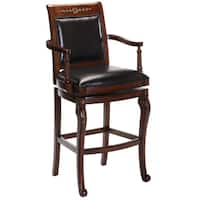 'Douglass' Cherry Carved Accents/ Black Leather Stool
