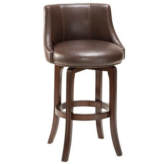 Gracewood Hollow Hurston Cherry and Faux Leather Swivel Stool
