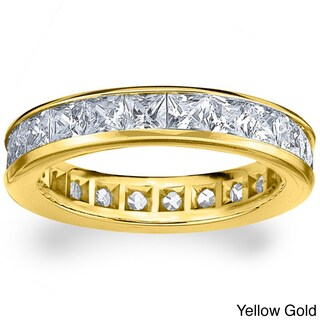 14k White or Yellow Gold 3ct TDW Machine-set Princess Eternity Diamond Wedding Band (More options available)