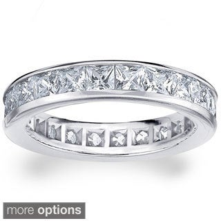 14k White or Yellow Gold 3ct TDW Machine-set Princess Eternity Diamond Wedding Band (H-I/SI1-SI2)
