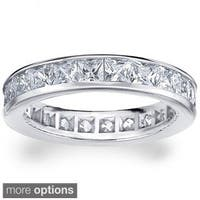 14k White or Yellow Gold 3ct TDW Machine-set Princess Eternity Diamond Wedding Band