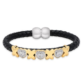 Finesque Diamond Accent Black Cord Heart XO Design Bracelet
