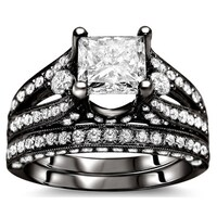 Noori 18k Black Gold 2 3 5ct Princess Diamond Bridal Set