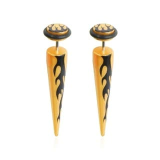 Supreme Jewelry Goldtone and Black Flame Faux Taper Earrings (Pair)